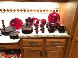 AVON Cape Cod Ruby Dishes