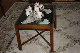 Antique Shadow Box Table, Tea Set, 8x12 Rug