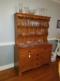 Handmade China Cabinet and Hutch. Pressed and Cut Glass