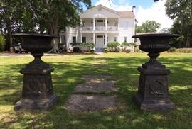 364a  Cast iron pair garden urns on stand, 5 ft. T.