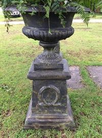 364b  Cast iron pair garden urns on stand, 5 ft. T.