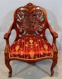 033a  Rosewood laminated pierce carved parlor chair attrib. to Springmeir, 39 in. T, 26 in. W, 20 in. D.
