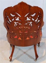 033c  Rosewood laminated pierce carved parlor chair attrib. to Springmeir, 39 in. T, 26 in. W, 20 in. D.