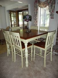 BAR HEIGHT TWO TONE WOOD TABLE WITH 6 CHAIRS