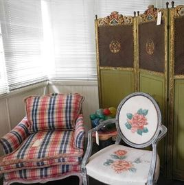 Vintage Upholstered Furniture and Three Dressing Screens
