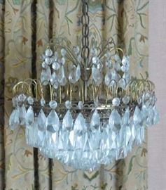 "Pair of Crystal Chandeliers (about 14"" diameter)"