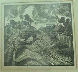 Signed print by Peteris Upitis circa 1938