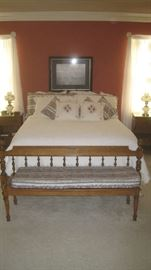 Ethan Allen bed and long bench with pad- part of a bedroom suite