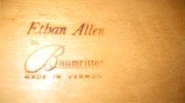 Ethan Allen label for bedroom suite