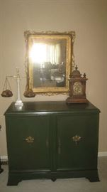Chest with Scales Of Justice, antique clock, mirror from Europe