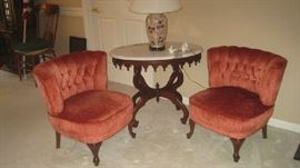 Pair of 1950's vintage tufted back chairs from Germany with oval Italian marble top table, lamp