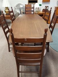 Table and set of six cherry chairs will be priced separately