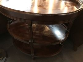 Antique three-tiered wooden end table