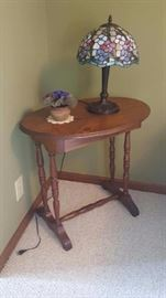 Stained Glass Lamp on solid wood accent table