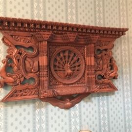 Hand  Carved Peacock Wall Shelf purchased in Napal