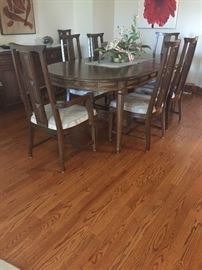 Teak wood dining set with 3 additional leaves also custom made