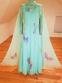 Vintage 1960's Hand Painted Chiffon Opera fluid gown with attached cape