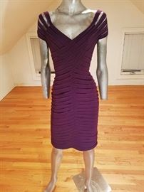 St. John Couture purple braided body con dress
