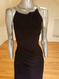 Ralph Lauren Couture Draped evening long dress Swarovski Crystal collar