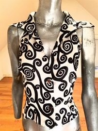 Katharine Hamnett London buttoned down shirt silky top black/white swirl design