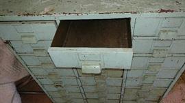 Vintage seafoam green metal filing cabinet