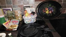 Cast iron pans later pictures show much more cookware that was found
