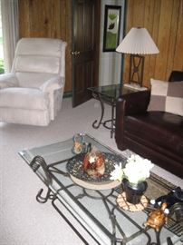 Coffee table, Lazy Boy Recliner(matching set) wrought iron coffee table w/ matching end tables