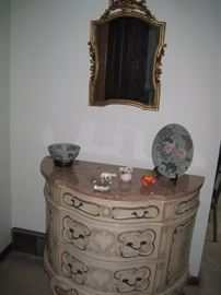 French Provencal half moon table with pink marble top