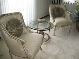 Vintage chairs, glass and brass side table