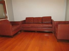 Custom leather sofa and club chairs