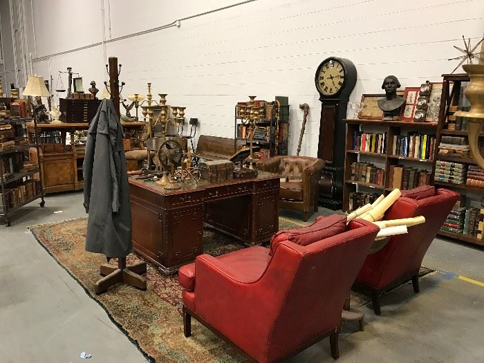 These Items to be Sold in Estate Sale Thu, 7.13 to Sat, 7.15 1  Pr Red Leather Wing Chairs, Desk, Grandfather Clock, Rugs, Coat Racks