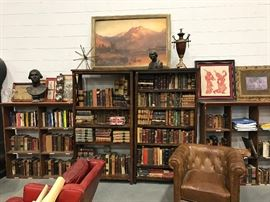 These Items to be Sold in Estate Sale Thu, 7.13 to Sat, 7.15 2  Bookshelves, Hundreds of Leather Bound Books