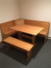 Corner pine table.