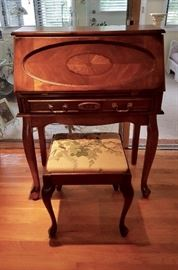 Small 1 drawer Queen Ann Style Secretary with oval inlay