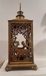Ornate Brass Reticulated candle holder with deer motif