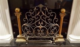 Metal ware fireplace screen and brass Andirons