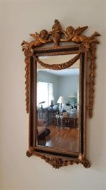 Antique Gold Guilded Cupid wall mirror