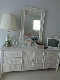 wicker dresser w/mirror