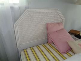 pair of twin wicker beds