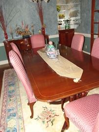 Baker dining table and 6 dining chairs