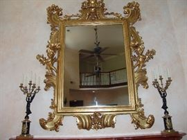 Ornate Gold Gilded Mirror with Cherubs and pair of bronze and marble candleabras