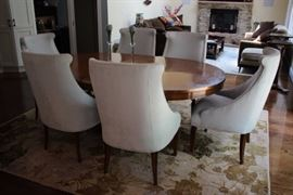 Antique Dining Room Table and 6 Ultra Suede, High Back, Contemporary Chairs