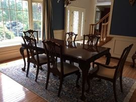 Century Dining Room Table & Chairs; Oriental Rug