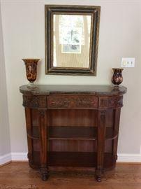 Sinclair Marble Top / Antique Cherry Bookcase