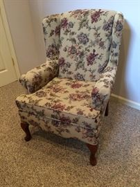 Queen Anne Floral Wing Chair