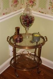 Round Glass and Brass Serving Cart with Decorative