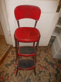 Red vintage metal step stool