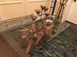 Beautiful glass top coffee table with driftwood base