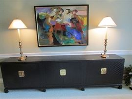 The cabinet is 9 feet long , 17inches deep & 30 inches high. The art Hessam 110/395  51inches by 38 inches.   The lamps are just too cool!