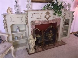 Pink marble fireplace!!